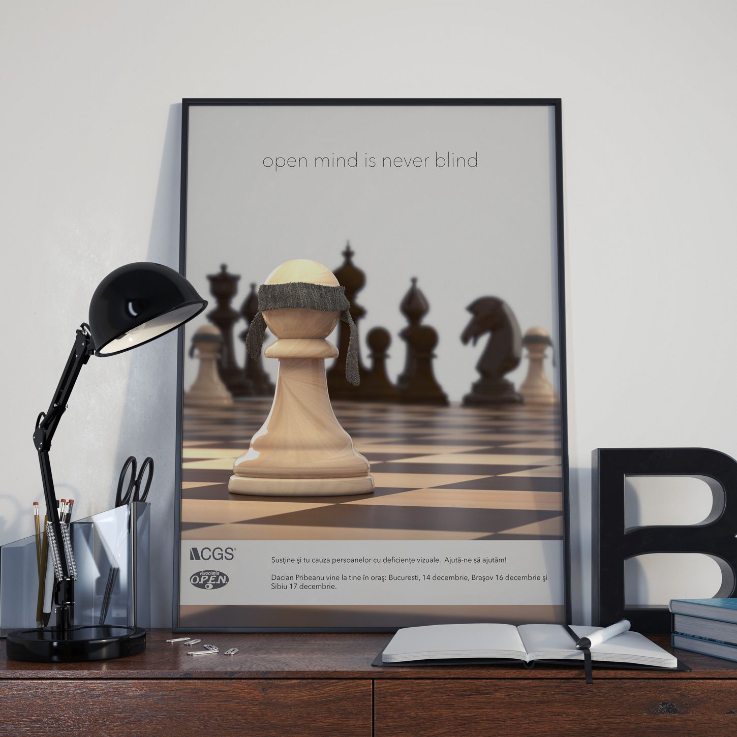 Open Mind Is Never Blind Poster 3d Layout Design Chess Contest 3d